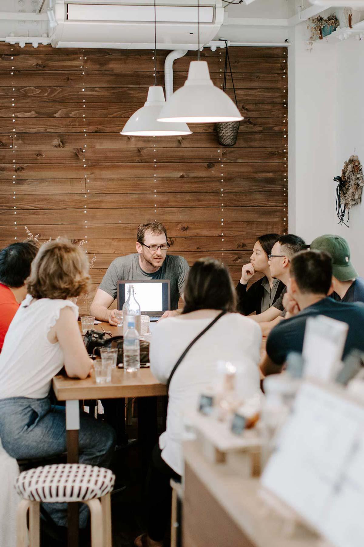 group meeting on internship in biblical discipleship ministries class