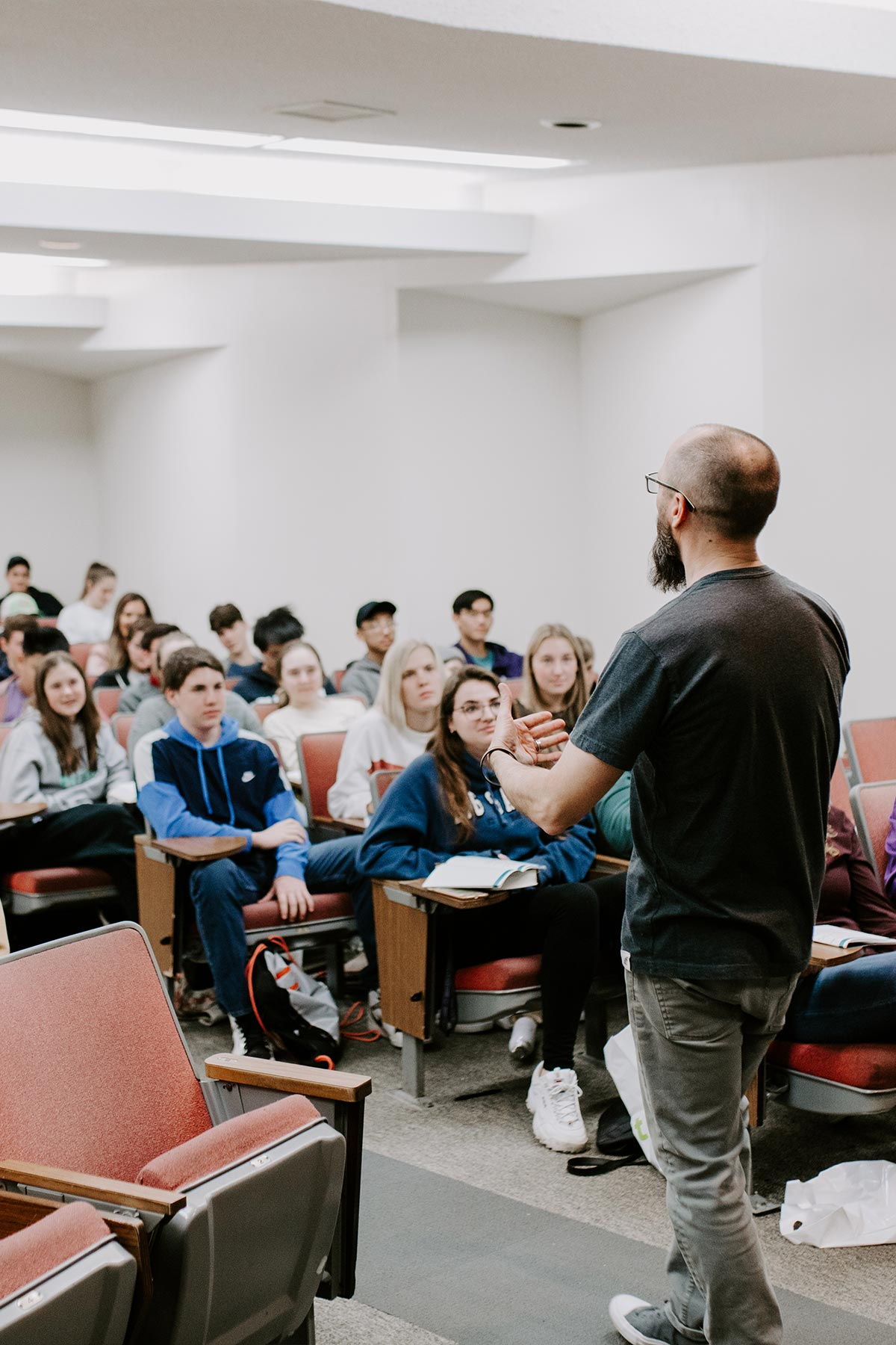 male teaching youth ministry students for ministry degree