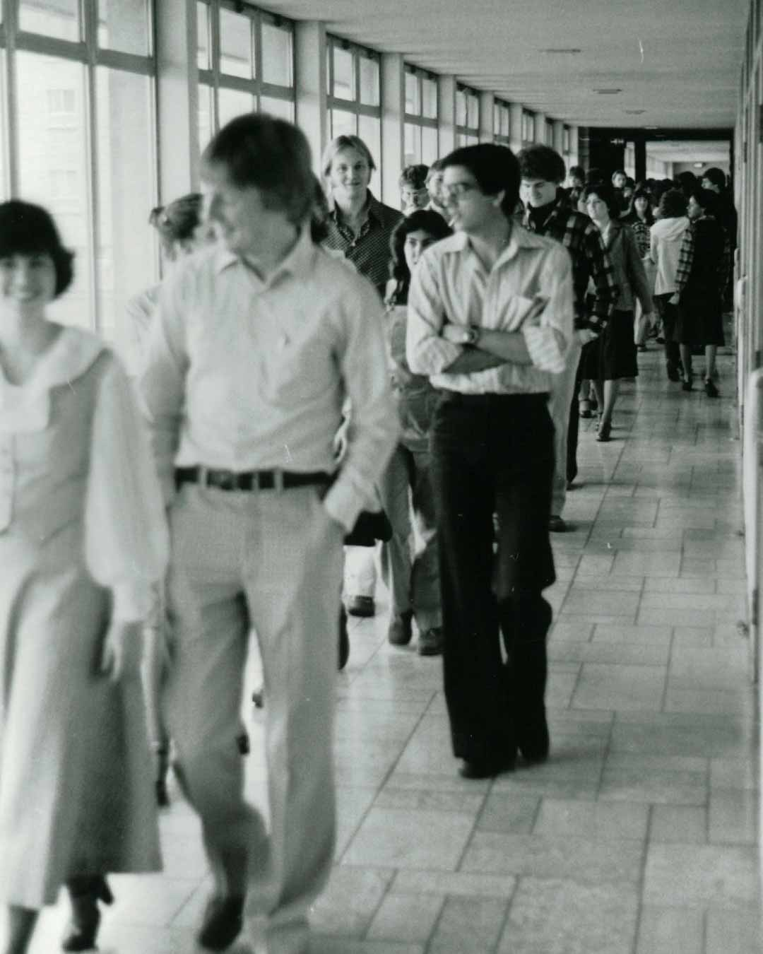 old photos of students lobby in crown college