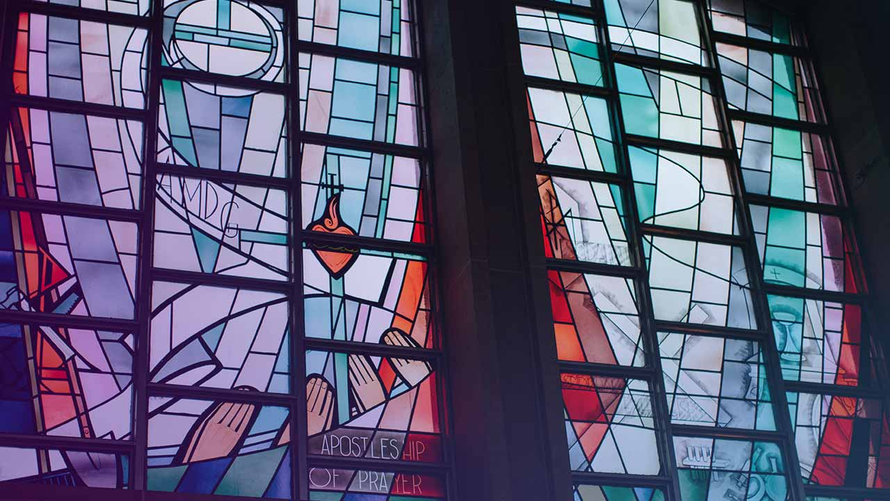 stain glass window at private christian college