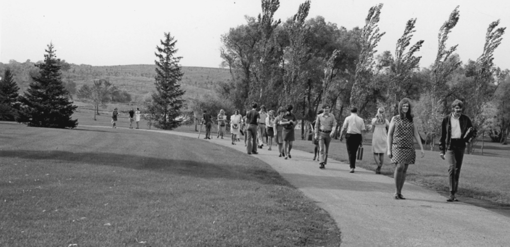old picture students walking in private christian college