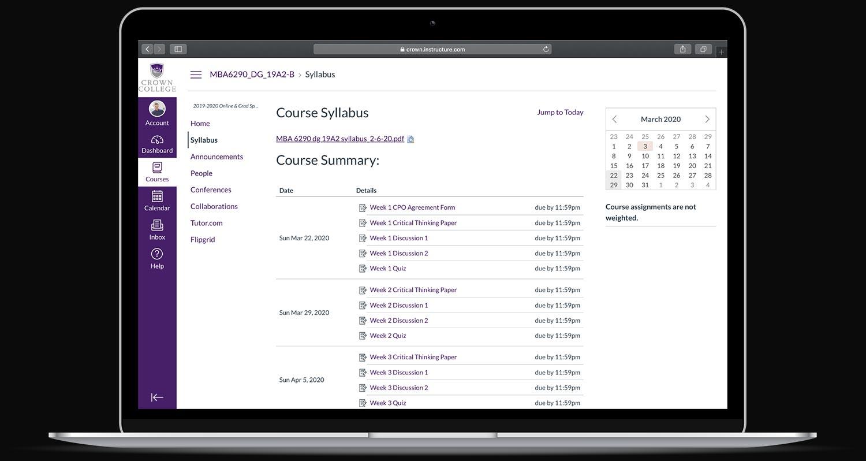 canvas syllabus on laptop college online degree programs