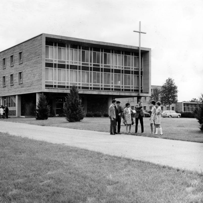 students outside crown college campus old picture