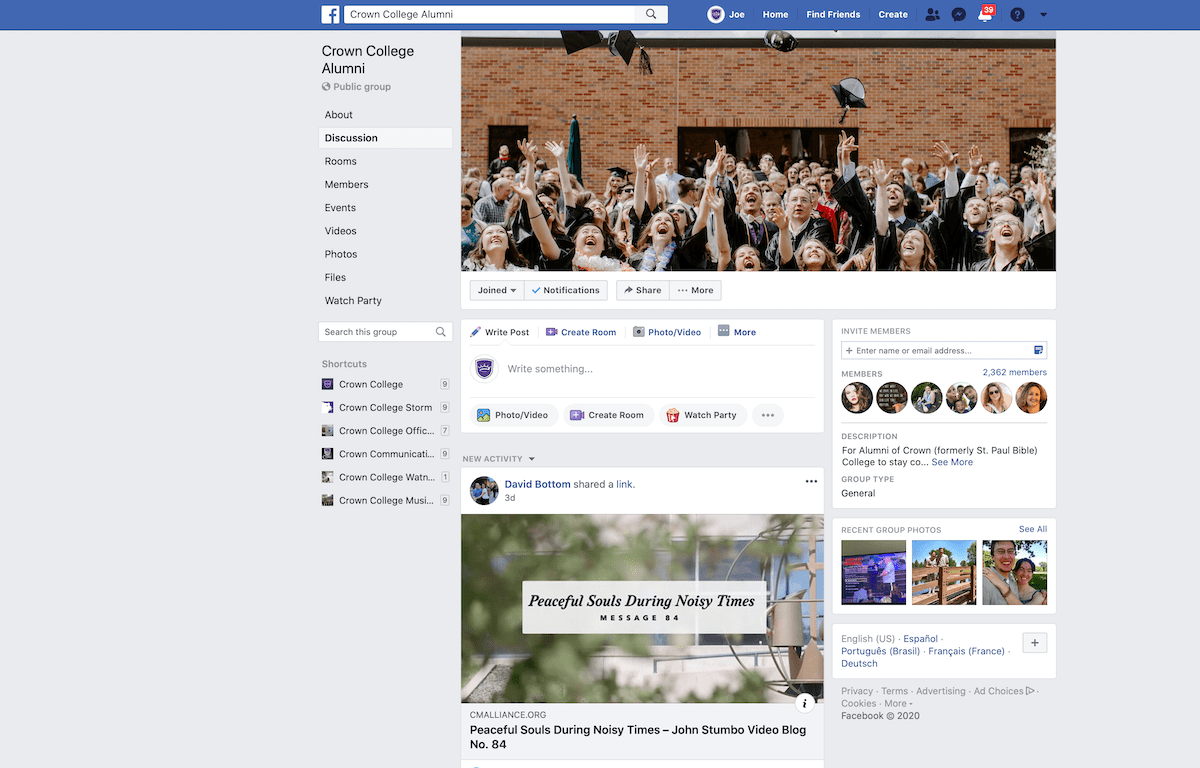 fanpage screenshot at 12h42 pm of crown college engagement