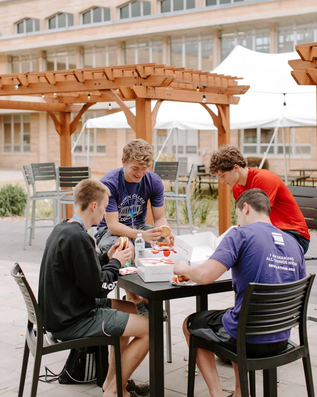 Students enjoying patio