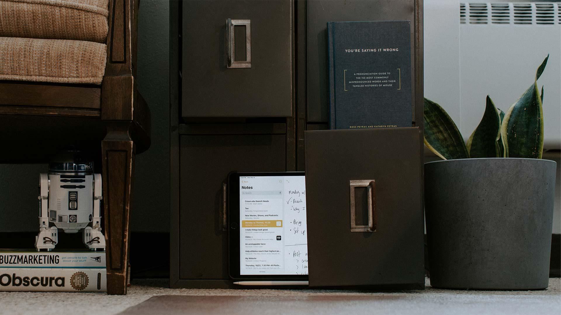 Digital filing cabinet in Crown College