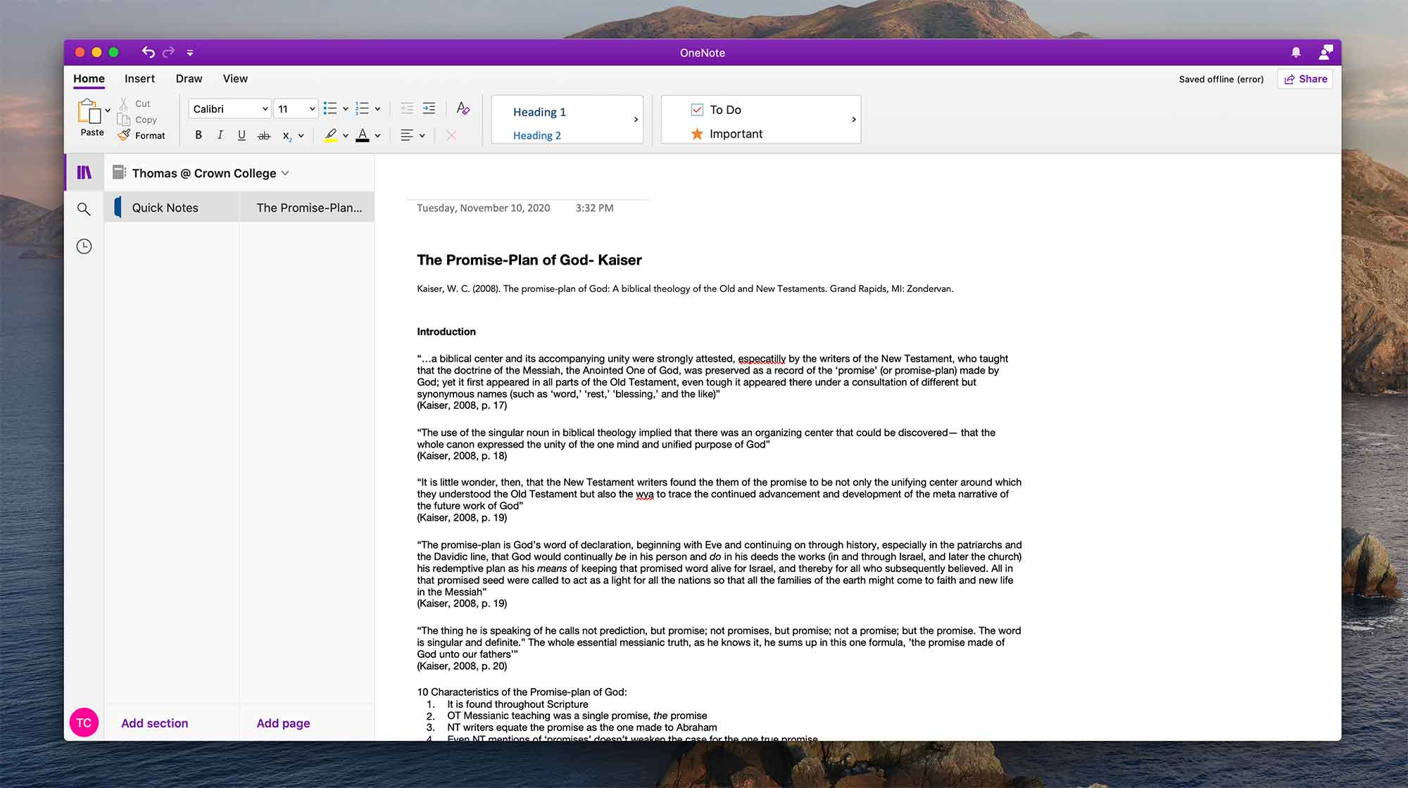 Using Microsoft OneNote in Crown College