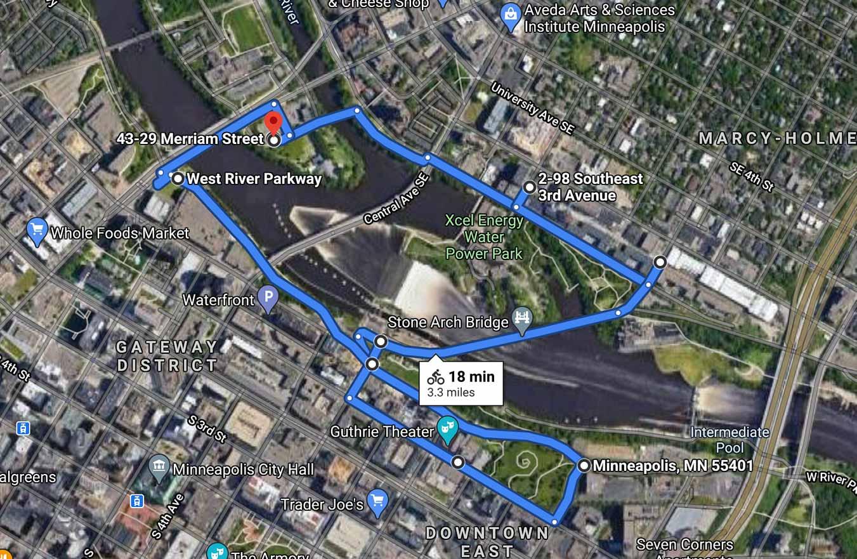 perfect bike route in Minneapolis